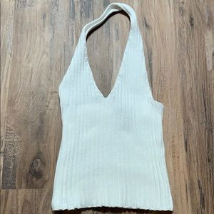 White Halter Crop Sweater